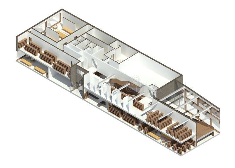 3D回报:图书馆的BIM模型 库存图片