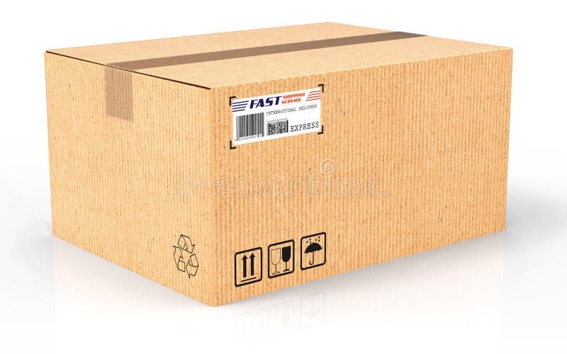 3d回报 创造性的抽象运输、后勤学和零售小包物品交付买卖概念:波纹状cardboar 皇族释放例证