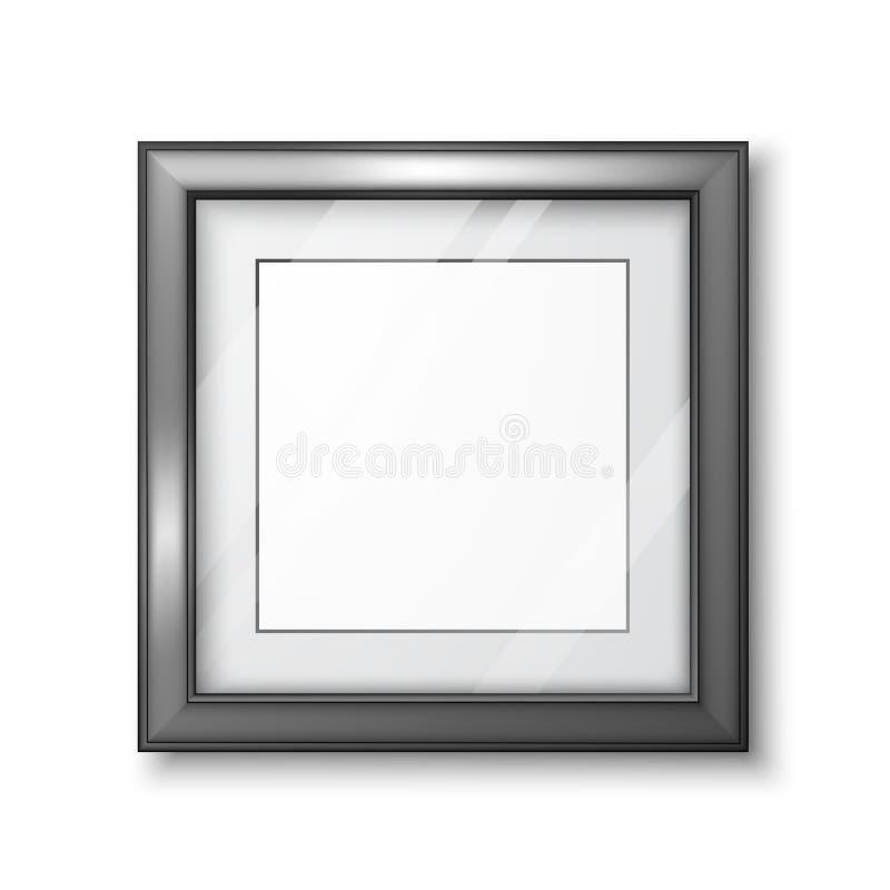 3D图片或相框设计 与透明玻璃和阴影的现代空的框架模板 在白色隔绝的传染媒介 库存例证