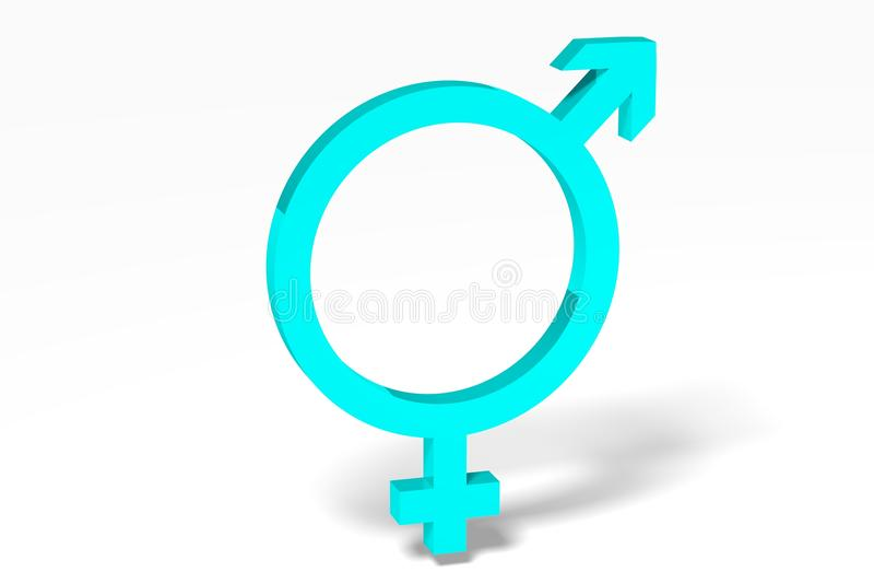 3D图表,性别问题,男性,女性,蓝色, eq 皇族释放例证