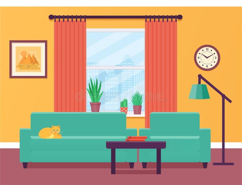3d图象内部客厅 也corel凹道例证向量 平的设计 库存例证