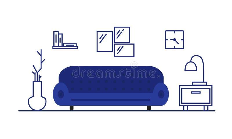 3d图象内部客厅 家具在屋子里:沙发,长沙发,床头柜 一栋现代公寓的大气 皇族释放例证