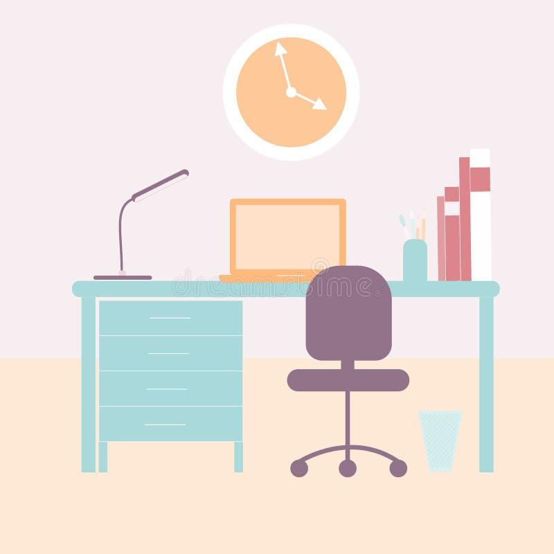 3d图象内部客厅 现代空间家具 有计算机的,在墙壁上的时钟,办公桌,灯,膝上型计算机室内设计书桌 库存例证