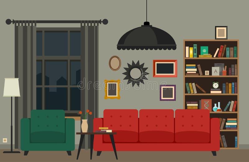 3d图象内部客厅 向量例证
