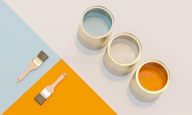 3d图象回报的颜色罐头和刷子在几何背景 皇族释放例证