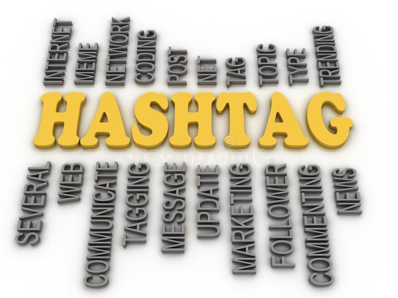 3d图象Hashtag概念词云彩背景 向量例证