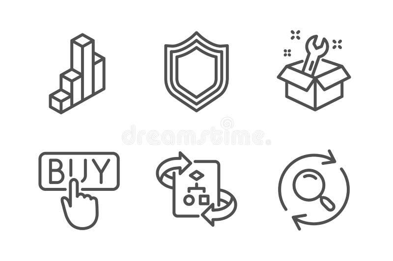 3d图,购买和安全象集合 扳手、技术算法和查寻标志 ?? 库存例证