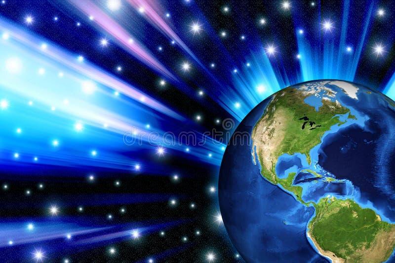 3d世界光芒 向量例证