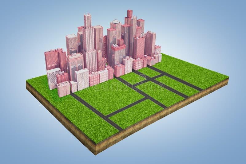 3d土地剧情的模型的翻译与站立在路的交叉点的附近高企业大厦成群的 库存例证