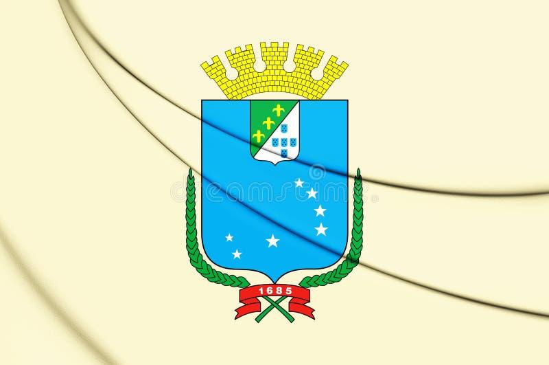 3D圣地雷斯马拉尼昂,巴西旗子  向量例证