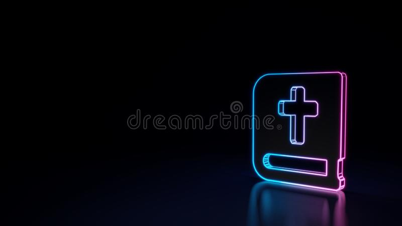 3d圣经的标志的发光的霓虹标志在黑背景的 向量例证