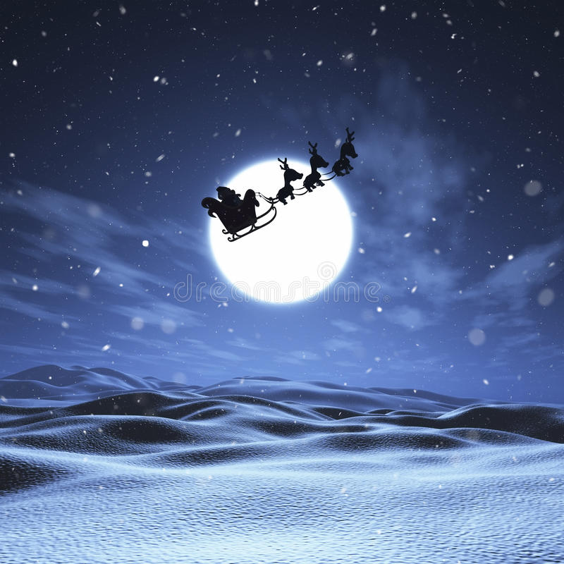 3D圣诞老人和雪橇飞行通过夜空 皇族释放例证