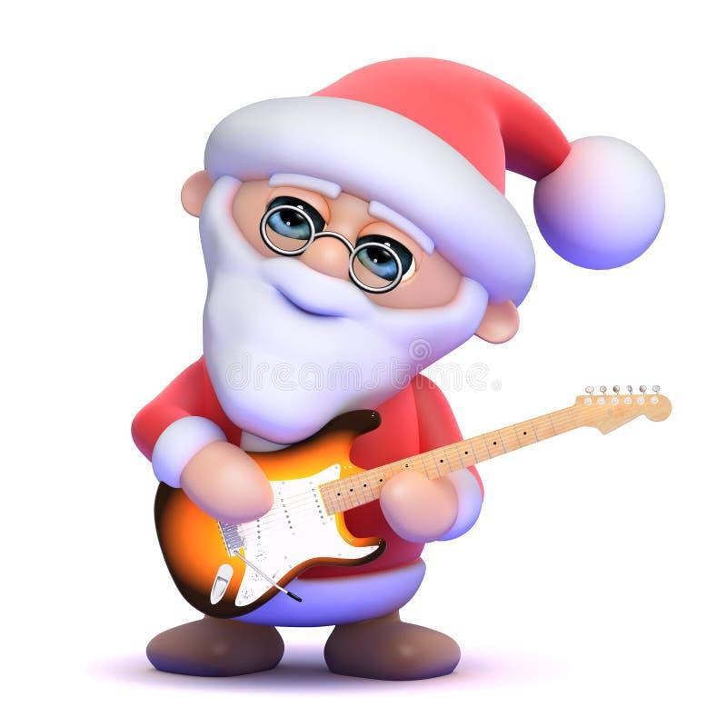 3d圣诞老人弹电吉他 向量例证