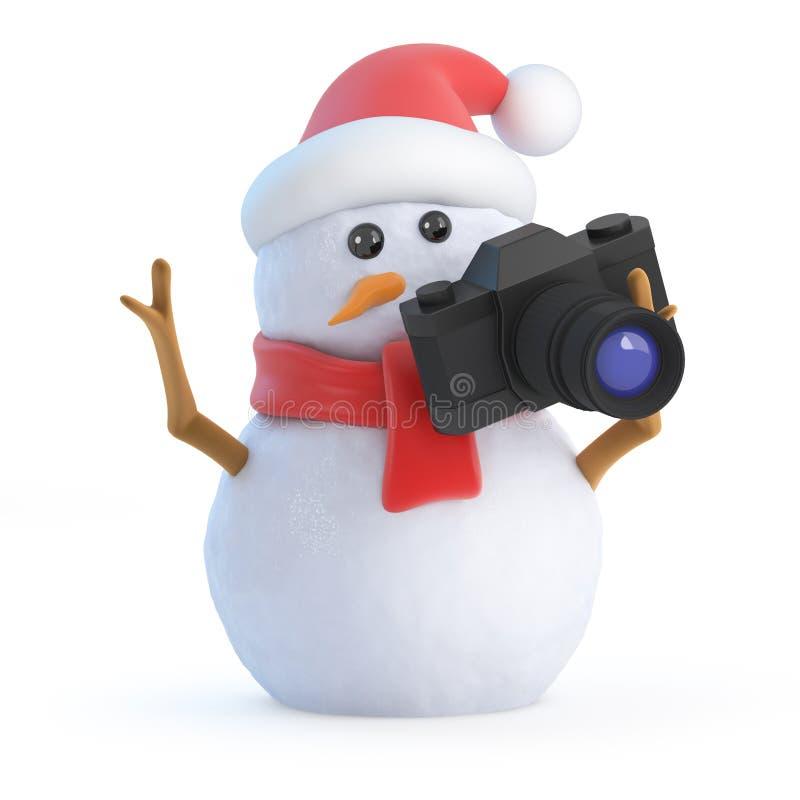 3d圣诞老人雪人采取一些假日短冷期 库存例证