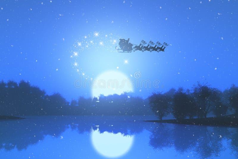 3D圣诞老人飞行通过反对日落风景的天空 皇族释放例证