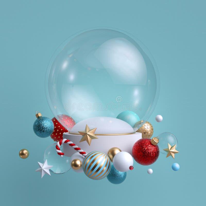 3d圣诞背景 装饰有节日装饰品的玻璃球 空白模型 玻璃球,水晶星,糖果棒 向量例证