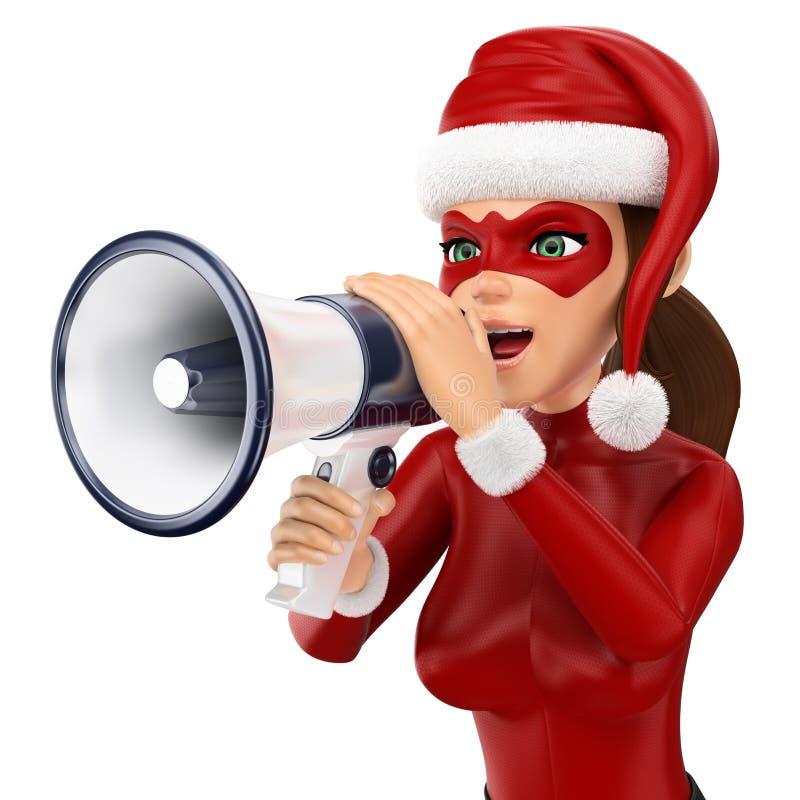 3d圣诞节人例证 妇女超级英雄谈话在扩音机 查出的空白背景 库存例证