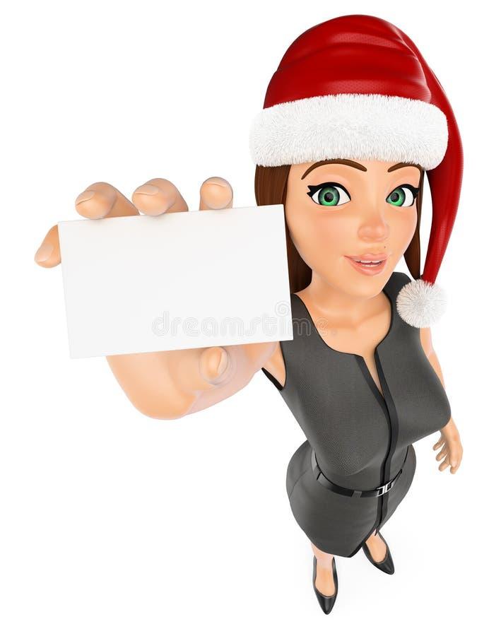 3d圣诞节人例证 有圣诞老人帽子和空插件的女实业家 查出的空白背景 向量例证
