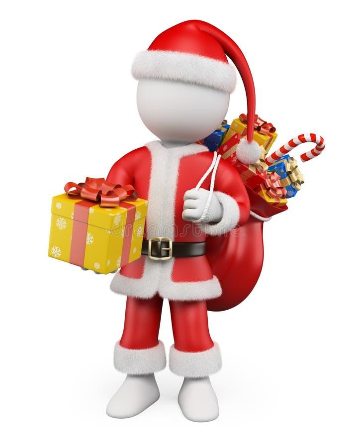 3D圣诞节白人。有礼物的圣诞老人 向量例证