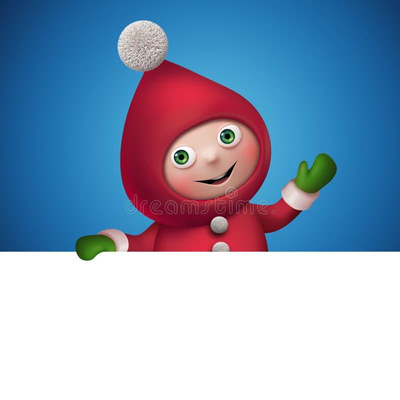 3d圣诞节矮子与横幅的玩具字符 向量例证