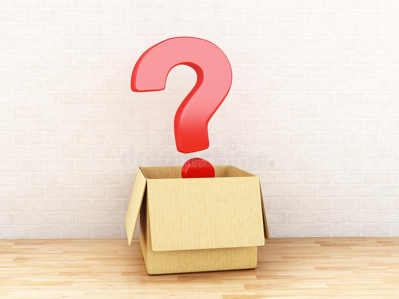 3d在一个开放箱子的问号 向量例证