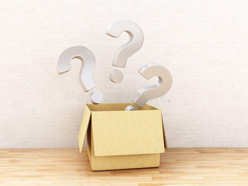 3d在一个开放箱子的问号 皇族释放例证