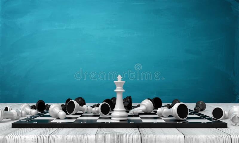 3d在一个棋盘的许多不同的棋形象围拢的一位白色棋国王立场的翻译在一张木书桌上 皇族释放例证