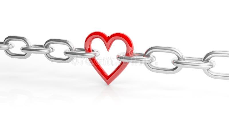 3d在一个链子的翻译心脏在白色背景 库存例证