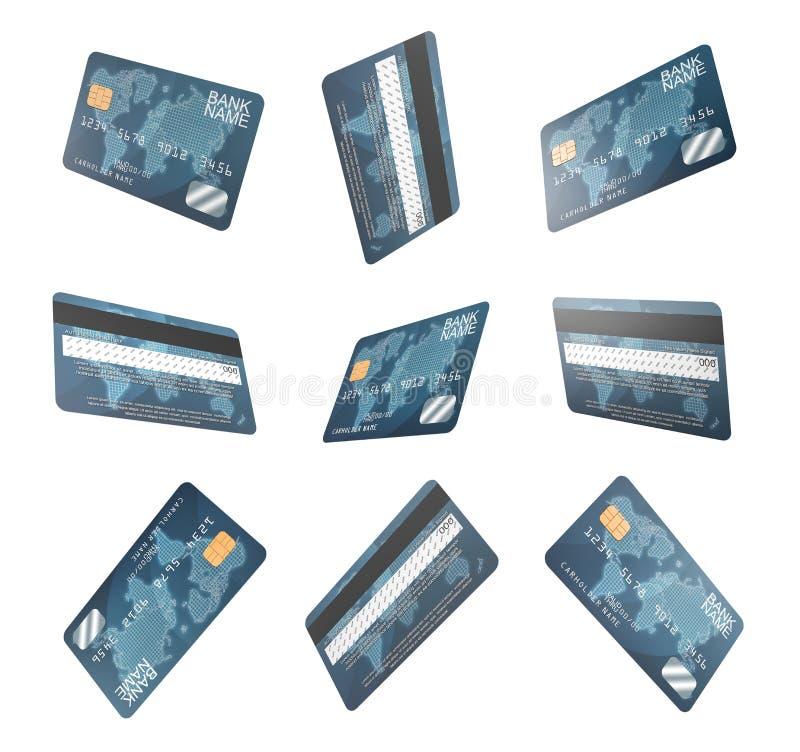 3d在一个集合的各种各样的角度显示的几张相同普通信用卡翻译  向量例证