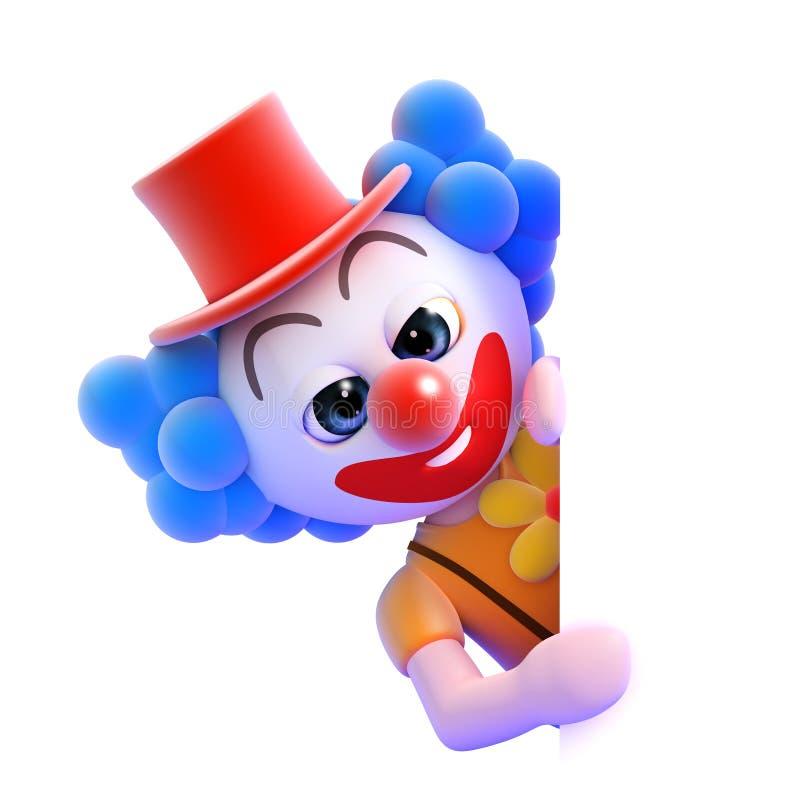 3d在一张空白页后的小丑 皇族释放例证