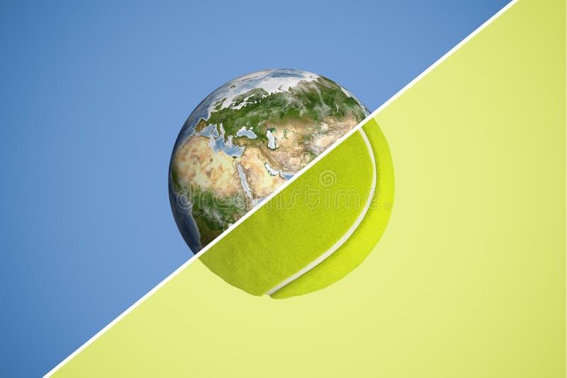 3d在与一条对角线,二分之一生存行星地球和其他的一半分裂的球形的翻译网球 库存例证