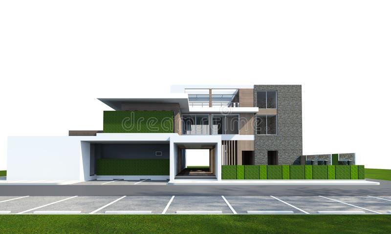 3D在与裁减路线的白色隔绝的房子翻译 库存图片