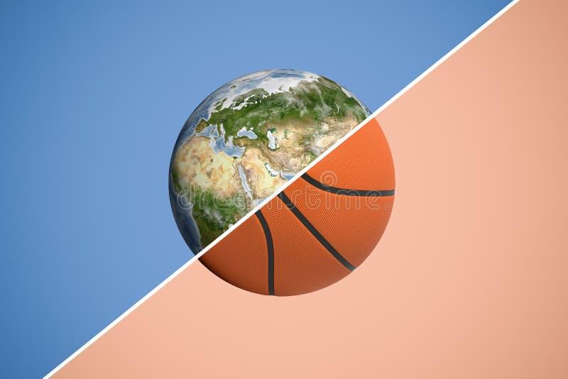 3d在两划分的球形的翻译与一条对角线成行星地球和篮球 库存图片