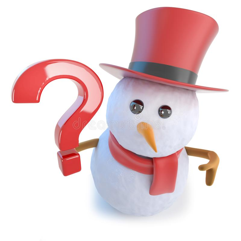 3d在举行问号标志的高顶丝质礼帽的滑稽的动画片雪人 皇族释放例证
