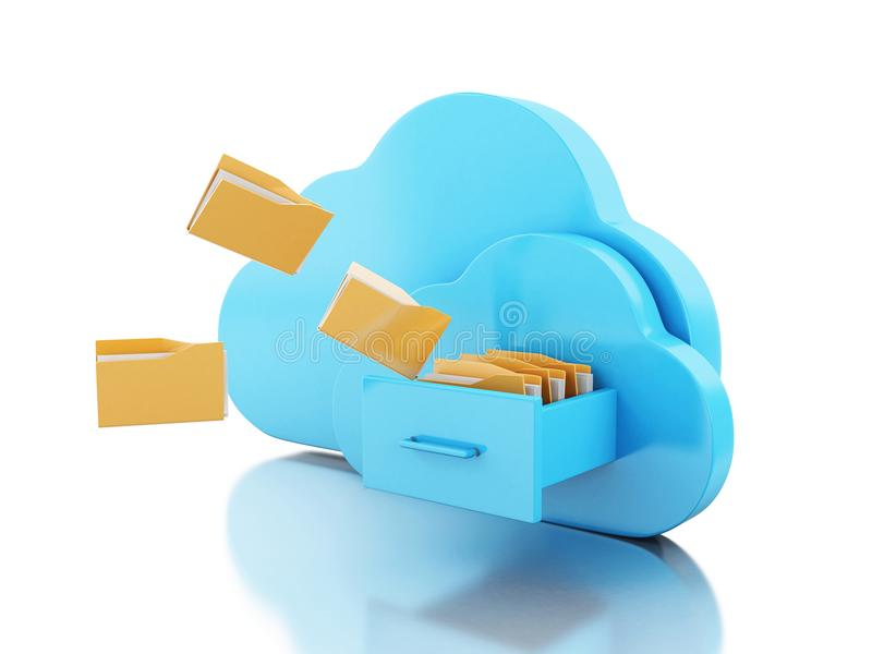 3d在云彩的文件存储 向量例证