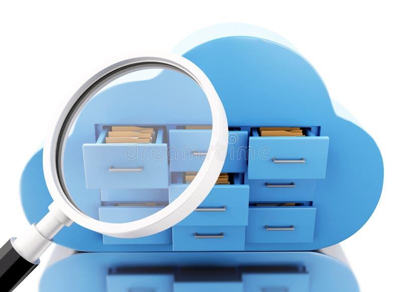 3d在云彩的文件存储 覆盖沟通的计算机计算的概念膝上型计算机被找出的资源 皇族释放例证