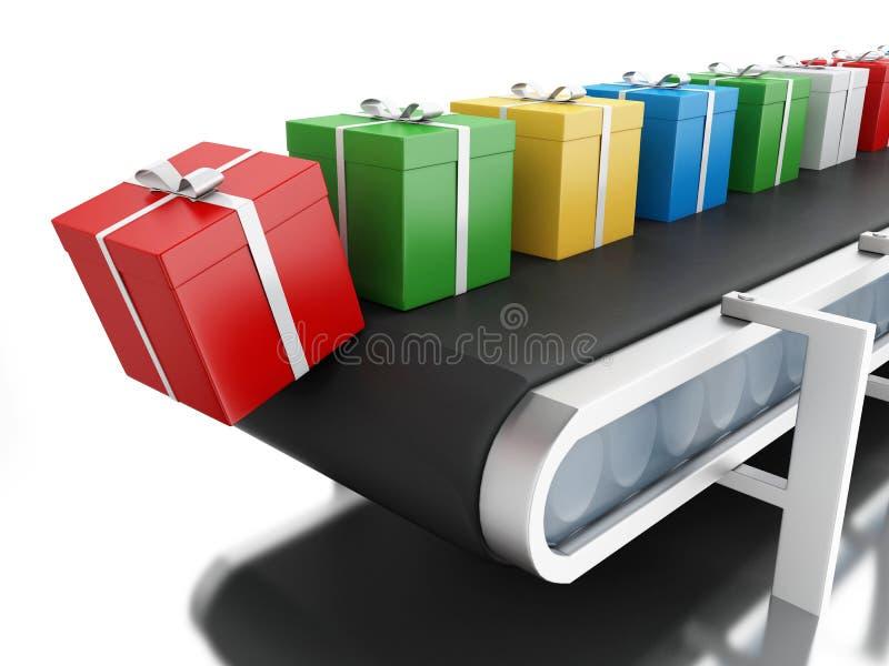 3d在传送带的礼物盒 向量例证