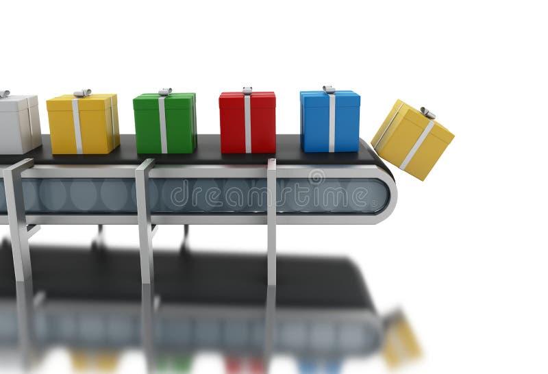 3d在传送带的纸板箱 库存例证