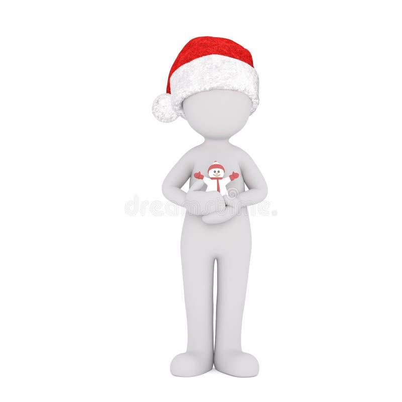 3d在使用与磁铁的圣诞老人帽子的toons 向量例证