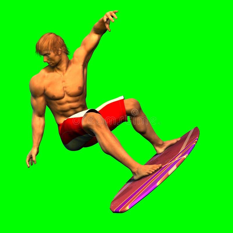 3D在冲浪者的绿色背景的翻译 向量例证