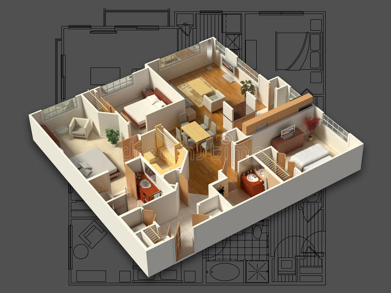 3D在图纸的用装备的议院内部 库存例证