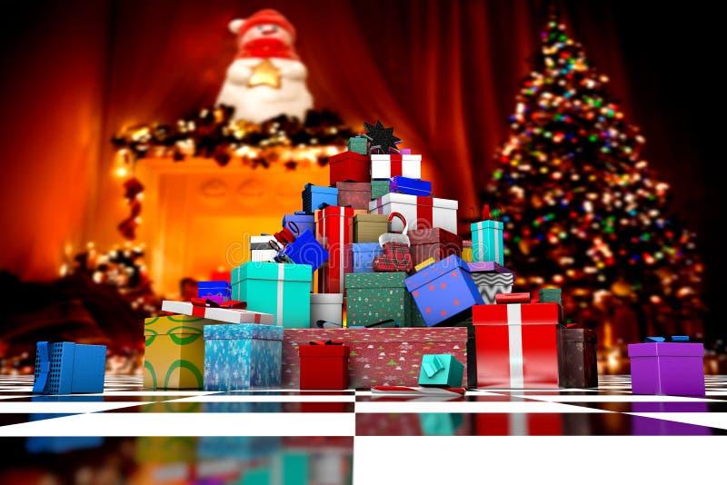 3D在圣诞树附近的许多圣诞礼物 皇族释放例证