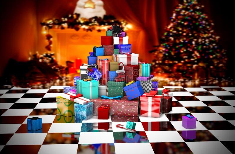 3D在圣诞树附近的许多圣诞礼物 库存例证