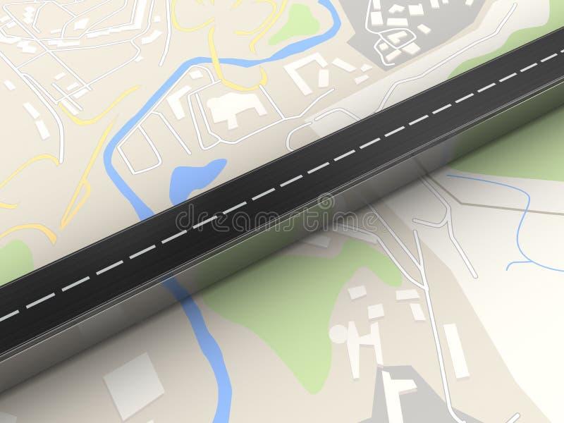 3d在地图的路 库存例证