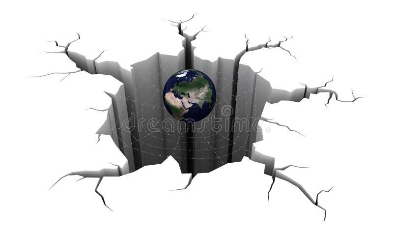 3d在地面、网和地球的圆孔 向量例证
