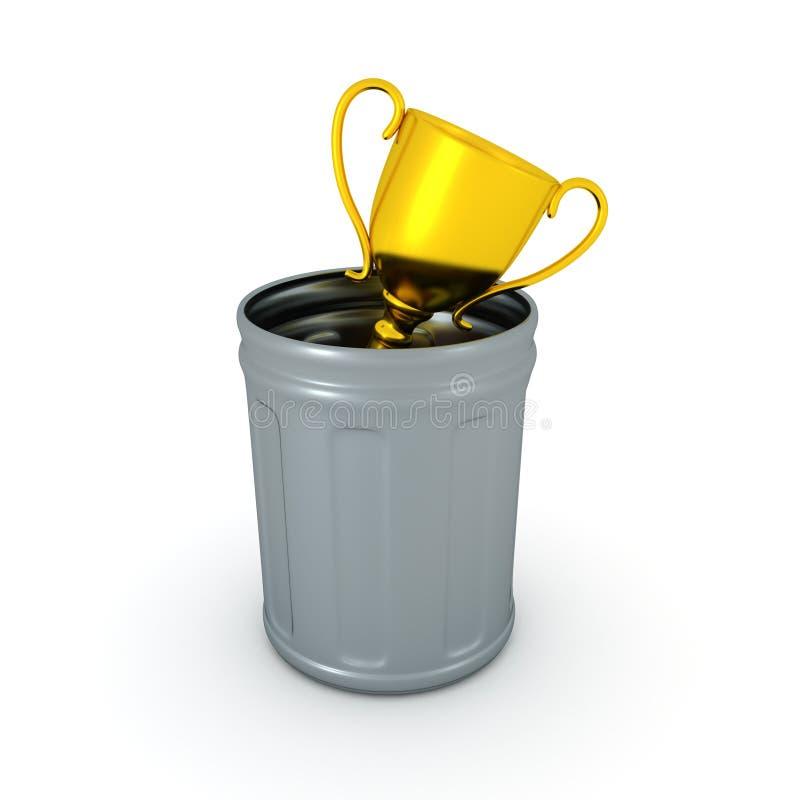 3D在垃圾箱投掷的金黄战利品的例证 皇族释放例证