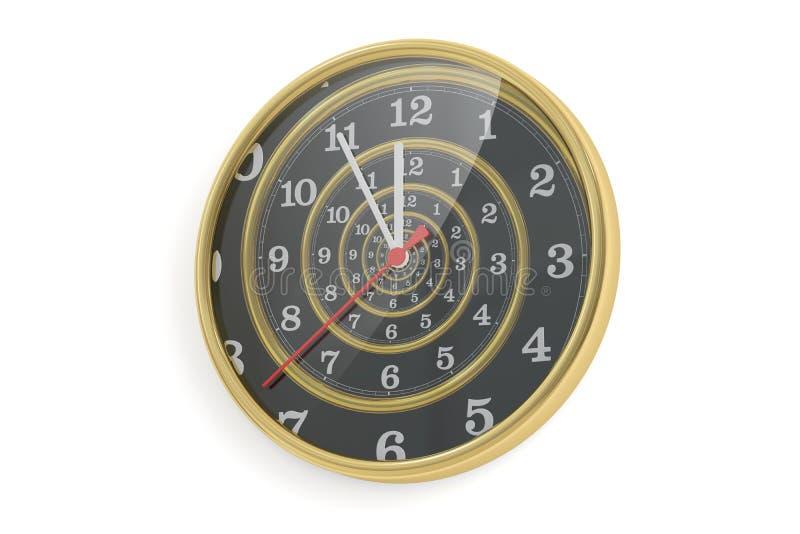 3D在壁钟概念的无限时间螺旋 向量例证