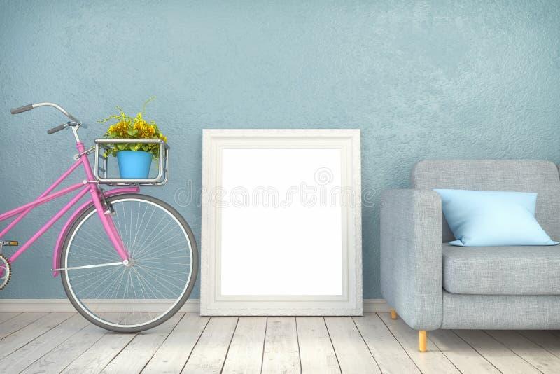 3d在客厅使-假装海报 向量例证