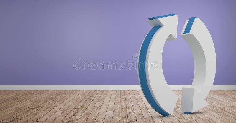 3D在屋子里刷新在地板上的象 库存例证