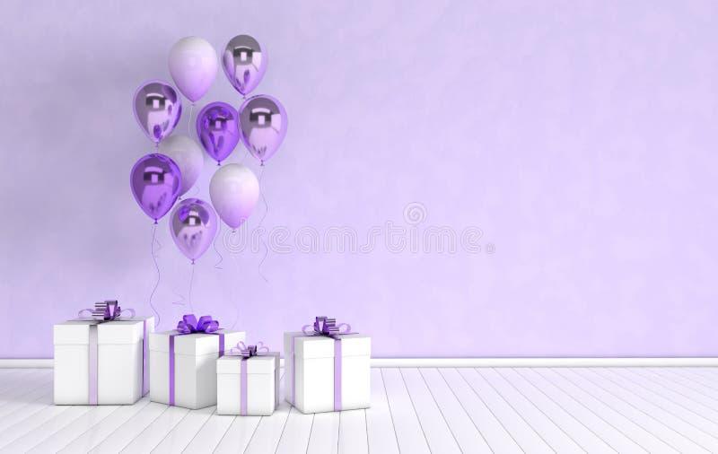 3d在屋子里回报与现实光滑的紫色金属箔和五颜六色的气球和礼物盒的内部有弓的 r 库存例证